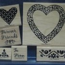 STAMPIN UP 2002 HEARTS & POSIES RUBBER STAMPS 6 RETIRED