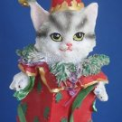 Gray Tabby Kitty Cat Christmas Jester Ornament New Cute
