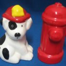 DALMATIAN FIRE DOG HYDRANT FIGURAL SALT PEPPER SHAKERS