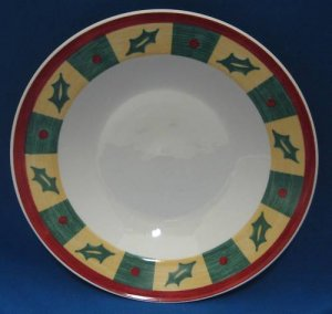 Libbey Christmas Holly Check Rim 1 Soup Bowl New Mint