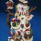 Snowman w Birdhouse Animals Christmas Ornament Sculpted