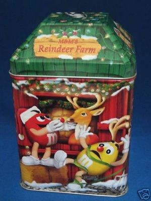 M&M M&Ms CHRISTMAS VILLAGE REINDEER FARM TIN CANISTER