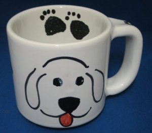 Dog Paw Prints Bone Hand Painted Mug Cup Italy Italian