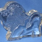 Lion Figural Clear Glass Paperweight Paper Weight Rare