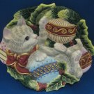 Fitz Floyd Gray Kitten Cat Christmas Dish Plate New