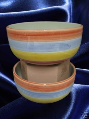 ALCOBACA STRIPED SOUP CEREAL BOWLS 2 PORTUGAL NEW