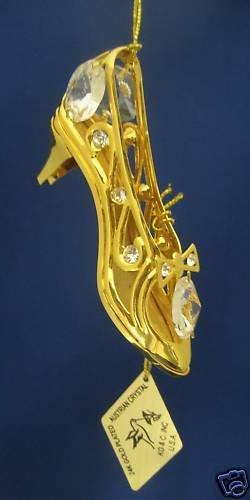 GOLD AUSTRIAN CRYSTAL SHOE HANGING ORNAMENT PRETTY MWT