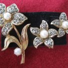 Vtg Marcasite Pearl Flower Earrings Pin Brooch Set