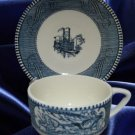 CURRIER IVES BLUE 2 CUPS SAUCERS ROYAL USA MID CENTURY