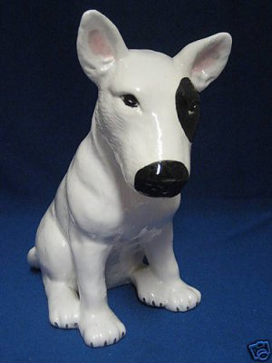 BULL TERRIER PUPPY DOG SITTING HAND PAINTED FIGURINE NR