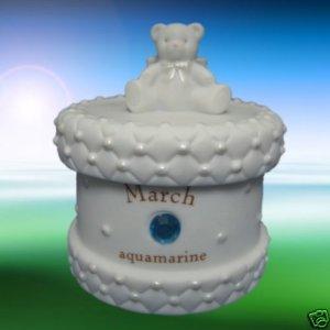MARCH BIRTHSTONE TEDDY BEAR ANGEL TRINKET TREASURE BOX