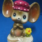VINTAGE 1960s PAPER MACHE MOUSE IN HAT FIGURINE STATUE
