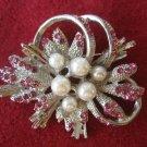 Vintage Glitz Pink Rhinestone Pearls Flower Pin Brooch