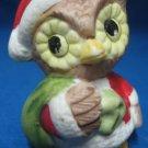 CHRISTMAS OWL BIRD SANTA W SACK HOLIDAY FIGURINE STATUE