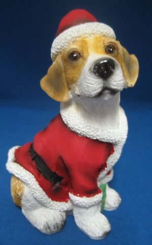 Beagle Puppy Dog Santa Suit Christmas Figurine New