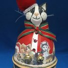 BLACK WHITE CAT SANTA CLAWS CHRISTMAS MUSIC BOX RARE