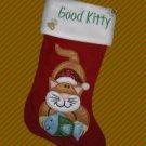 GOOD KITTY CAT RED VELVET CHRISTMAS STOCKING NEW CUTE