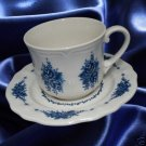 MAYHILL FEDERALIST 4236 BLUE FLOWER CUPS SAUCERS 3 NR