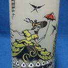 Southern Belle Frosted Green Ice Tea Glass Tumbler Vtg