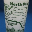 North Carolina Tar Heel State Frosted Glass Vintage