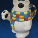 Polar Bear Figural w Colorful Scarf Teapot Tea Pot Cute