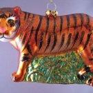 WILD CAT TIGER BLOWN GLASS CHRISTMAS ORNAMENT NEW RARE