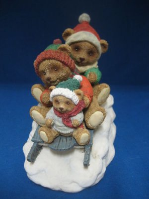 Teddy Bear Sledding Fun Winter Christmas Figurine Cute