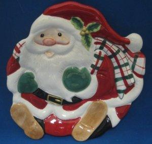 Christmas Santa Claus Figural Plate Fitz Floyd New