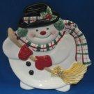 Christmas Frosty Snowman Figural Plate Fitz Floyd New