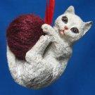Playful Gray Kitten Cat Yarn Ball Christmas Ornament