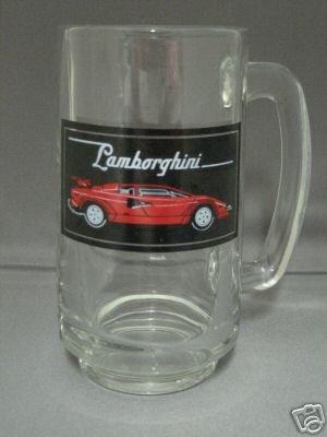 EXOTIC RED LAMBORGHINI SPORTS CAR GLASS STEIN TANKARD