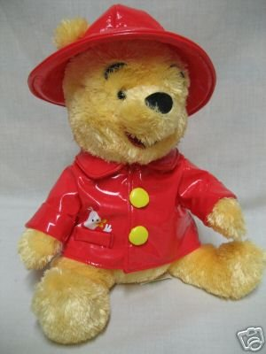DISNEY WINNIE POOH RED RAINCOAT SLICKER PLUSH BEAR CUTE