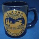 Alaska GREATLAND Moose Blue Pottery Souvenir Mug Cup