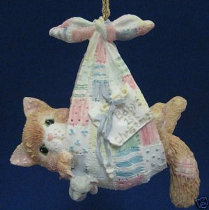 CALICO KITTENS BABY BOY 1st CHRISTMAS ORNAMENT NEW