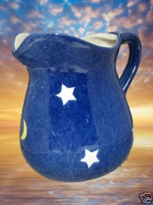 MEXICAN ART POTTERY CELESTIAL MOON STARS PITCHER MEXICO