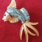Gold Blue Fish Costume Jewelry Pin Brooch Gem Eye Rare
