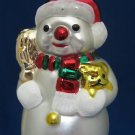 SNOWMAN W PUPPY BLOWN GLASS CHRISTMAS ORNAMENT CUTE NEW
