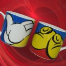 DISNEY MICKEY MOUSE GLOVES SHOES MUGS CUPS SET 2 MINT