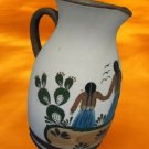 MEXICAN ART POTTERY HAND PAINTED PITCHER MEXICO AS IS