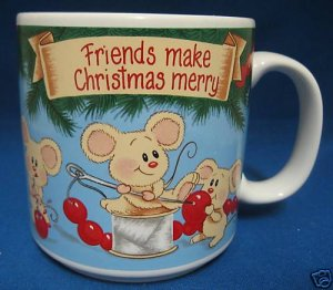 FRIENDS MAKE CHRISTMAS MERRY MICE DECORATING MUG CUP NR
