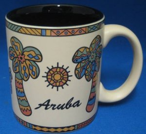 ARUBA PALM TREES SOUVENIR COFFEE MUG CUP MINT TROPICAL