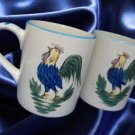 HAND PAINTED FRENCH COUNTRY ROOSTER COFFEE MUGS CUPS 2
