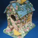 YELLOW FINCH FLOWER COTTAGE HANGING BIRD HOUSE NEW CUTE