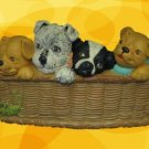 PUPPY DOGS LAUNDRY BASKET CHALKWARE PLAQUE WALL HANGING