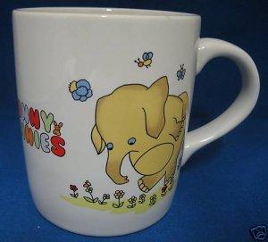 SUNNY FUNNIES ELEPHANT TIPTOING IN FLOWERS MUG CUP CUTE