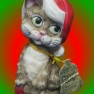 VINTAGE CHRISTMAS CAT CRITTER BELL CERAMIC BISQUE JASCO