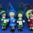 VINTAGE ELVES SANTAS HELPERS CHRISTMAS ORNAMENTS SET 4