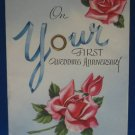 VINTAGE 1st WEDDING ANNIVERSARY GREETING CARD 1952 RARE