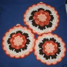HAND CRAFTED CROCHETED FLOWER HOT PADS SET OF 3 PRETTY