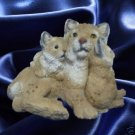 BOB CAT WITH KITTENS STONE CRITTERS FIGURINE STATUE